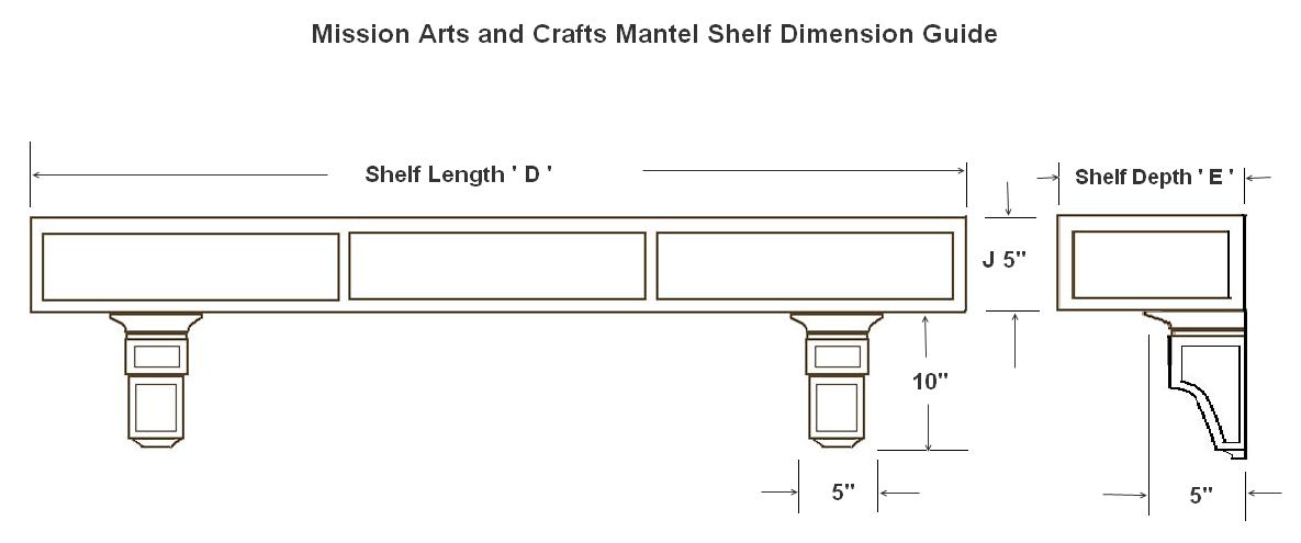 Dimension Guide for Craftsman - Mission Mantel Shelves