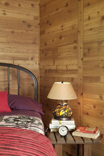 Western red Cedar Paneling in a bedroom